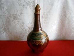 Nagyon régi és különleges Lengyel kerámia pálinkás, likőrös flaska, üveg, dugóval