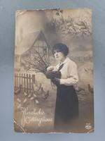Régi képeslap I.vh. húsvéti üdvözlőlap 1916 katonák