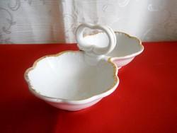 Régi Zsolnay pajzspecsétes aranyozott fehér asztali sótartó, fűszertartó