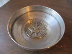 Régi ezüstözött fém kegytárgy 20 cm átmérőjű 5 cm magas