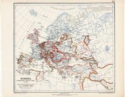 Európa térkép Mátyás király korában, kiadva 1913, eredeti, Kogutowicz, történelmi, renaissance, régi