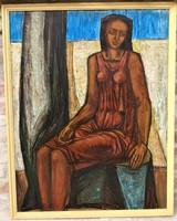 Dér István (1937 - 1993) Őszi meditáció c. olajfestménye 104x81 cm EREDETI GARANCIÁVAL !!