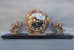 Art deco márvány asztali óra galambokkal