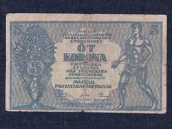 A Magyar Postatakarékpénztár Korna pénztárjegyei (1919-1920) 5 Korona bankjegy 1919