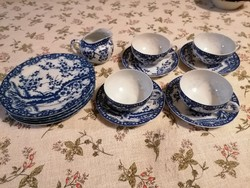 Japán tojáshéj porcelán , cseresznyevirágos, 4 személyes teáskészlet.