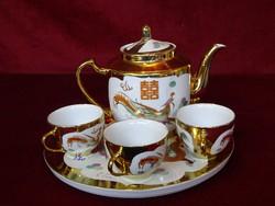 Kínai teáskészlet, dúsan aranyozott.