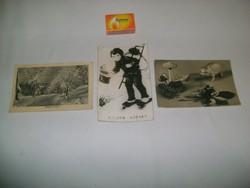 Régi újévi képeslap - három darab