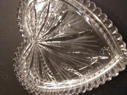 Ékszer tartó, szîv alakú üveg