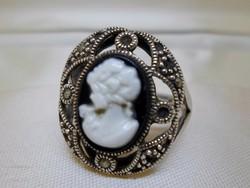 Szépséges régi kámeás  ezüst gyűrű