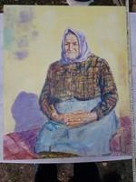 Szép öreg nénnye, 82x66, nagy olajfestmény faroston, Pilch Dezső szignóval
