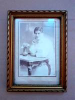 Antik női fotó képkeretben fénykép fali fotókeret falikép