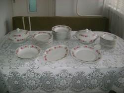 Retro tizenkét személyes porcelán étkészlet - negyvenöt darabos - hiányos