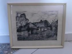 Scultéty Éva (1917-2001) Házak rézkarc