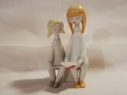 1,-Ft Ritka színben Hollóházi art-deco olvasó kislányok!