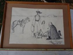 48x69 cm, Basilides Barna tusrajz, kisebb piszkokkal...karton a hátulja
