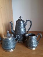 Antik WMF ezüstözött szélű kávés készlet