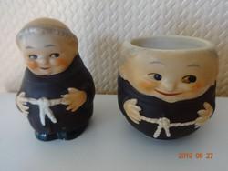 2 db antik Hummel -Goebel porcelán szerzetes fűszertartó figura