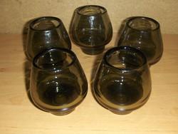 Retro füstszínű vastag üveg pohár készlet (8/K)