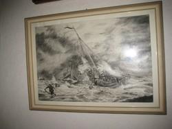 Hajótörés   , grafika  32x45 , rámával 35 x 48  cm