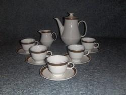 Arany szélű GDR porcelán kávés mokkás készlet 5 szem. (5/K)