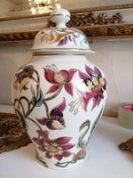 Gyönyörű, kézzel festett Zsolnay liliomos fedeles váza nagy méretű, hibátlan