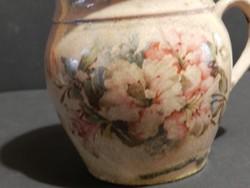 Antik fajansz bögre v. csupor ,ritka repesztett mázas