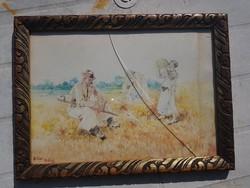 Bihari Balogh akvarell, eredeti keretében, törött üveggel, kb.20x30 cm