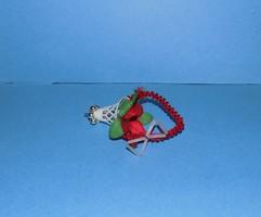 Retro fehér virágkosár karácsonyfadísz 9 cm (1)