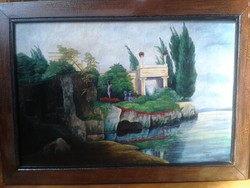 ARNOLD BÖCKLIN hangulatát elővetitő kép 1837!!! H.VALENTA OSZTRÁK MŰVÉSZ KERETEZETT OLAJFESTMÉNYE