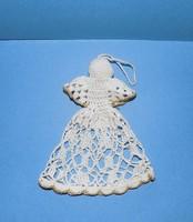 Régi horgolt angyalka karácsonyfadísz vagy ablakdísz 14 cm (1)