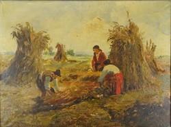 0Y254 Magyar festő: Kukorica bálázás
