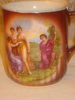 Szép bordó lüszteres  porcelán  jelenetes jelzett Altwien  teáscsésze sérült, alátét hibátlan