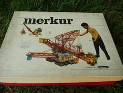 Ritka, három szintes MERKUR fém építőjáték az 1970-es évekből gyári dobozában, útmutatóval