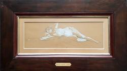 Deák Ébner Lajos - Fekvő akt 15 x 45 cm ceruza, fedőfehér, papír