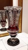 Antik rubin kristály váza