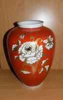 Wallendorf nagyméretű aranyozott kézi festésű porcelán váza 30 cm (2p)