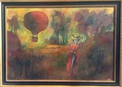 Tóth Ernő - Romantikus táj 70 x 100 cm olaj, farost