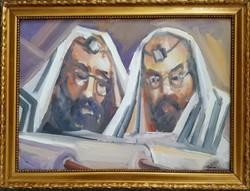 Schéner Mihály - Tóraolvasók 50 x 70 cm olaj, farost