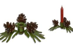 Öntöttvas karácsonyi gyertyatartó- fenyőfaleveles -tobozos-ünnepi gyertyatartó