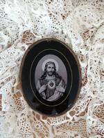 Antik szentkép réz keretben Jézus, karácsony