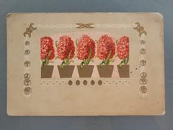 Régi virágos képeslap K.u.K. bélyegzős 1916