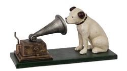 Gramofont hallgató kutya- öntöttvas szobor