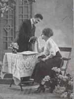 Régi fotó vintage női férfi páros fénykép képeslap