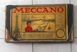 Antik angol fémépítő játék dobozában