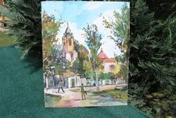 """Bánfi szignós festmény (""""Budai utca"""")"""