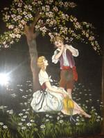 Festett kép, 1800-as évekbeli idill, festmény aranyozott keretes selyem ? képen