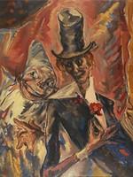 """Nicolas Sternberg olaj festmény 1924, Párizs, """"Bohócok"""""""