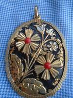 Tűzaranyozott eredeti antik női medál finoman aprólékosan kidolgozva 42x 3,2 cm