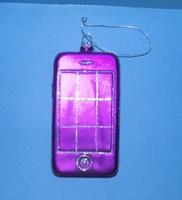 Üveg karácsonyfadísz telefon 6*11 cm (1)