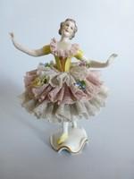 Ritka,antik tűszoknyás,csipke szoknyás Volkstedt balerina